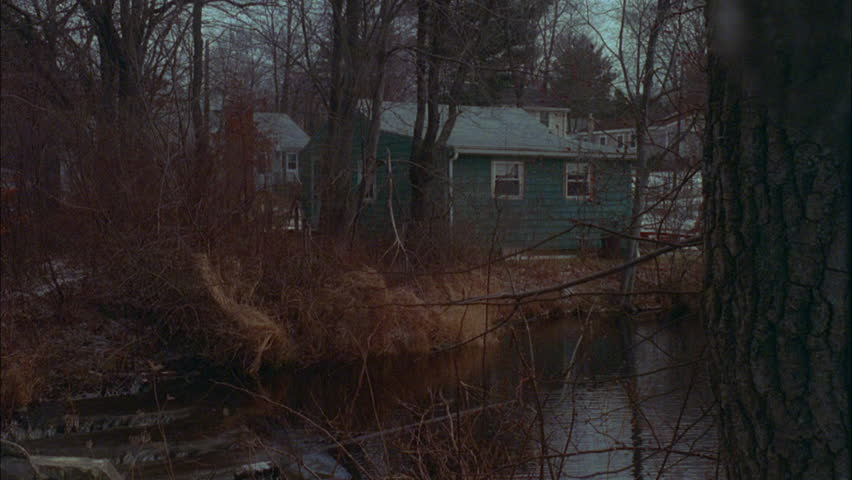 Day across stream creek an older very small green one story clapboard house boat house, bare trees, winter fall