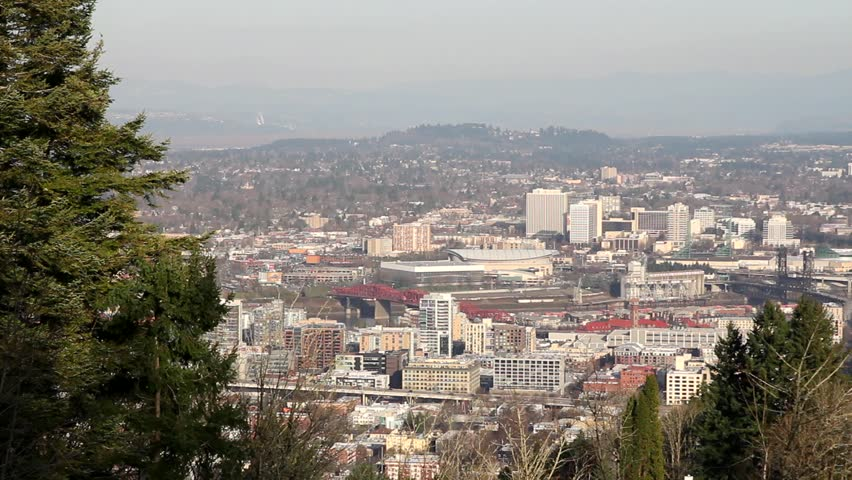 Portland Oregon Downtown Cityscape from Pittock Mansion 1080p Panning - HD stock footage clip