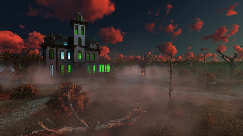 Spooky mansion surrounded by fantastic creepy trees with animated Jack-o-lantern Halloween pumpkin bouncing on its path at misty dusk sunset. Decorative 3D animation rendered in 4K | Shutterstock HD Video #20384800