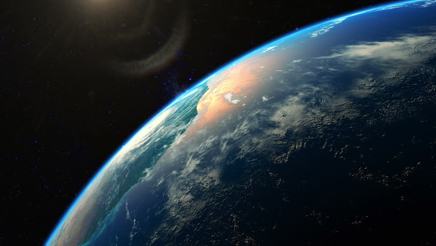 Beautiful realistic sunrise over planet Earth seen from space. Earth rotation. 4K highly detailed 3d render. | Shutterstock HD Video #20384908