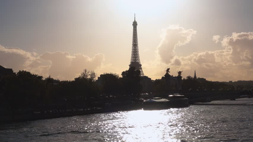 Eiffel Tower and River Seine in Paris in the backlight | Shutterstock HD Video #20386447