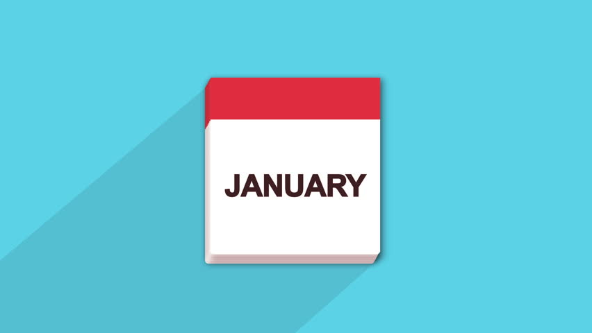 A Blue Monthly Calendar On White Background Animation