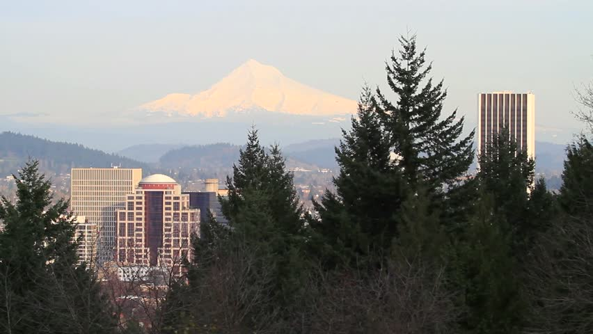 Panoramic View of Mount Hood and Portland Oregon Downtown Skyline and Cityscape 1080p Panning - HD stock footage clip