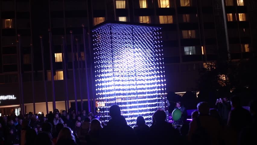 PRAGUE, CZ - OCTOBER 15, 2016: Short Video of the Monolith light installation powered by Mercedes-Benz â?? Hyperbinary at Paris street next to the Old Times Square in Prague, Czech republic.No audio
