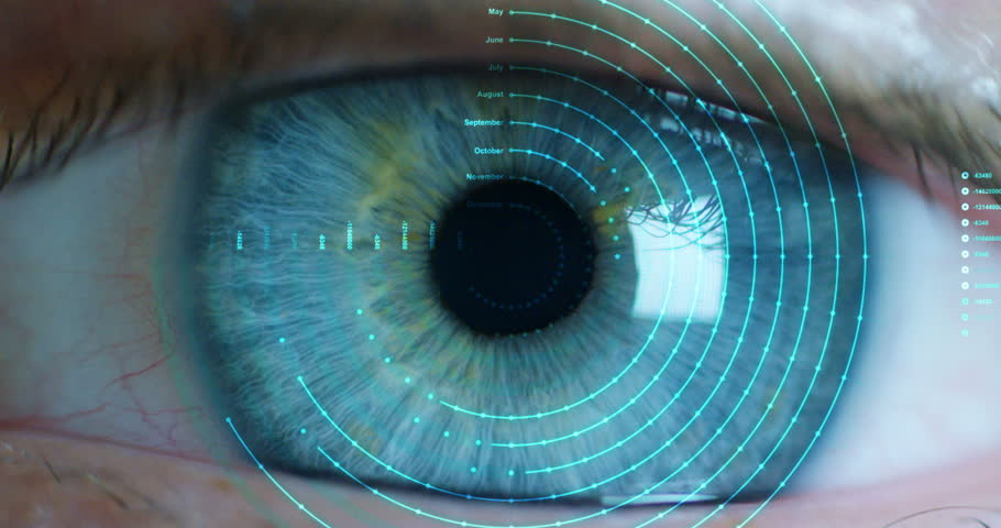 Macro eye 6k resolution futuristic graphical implementation. human being futuristic vision, vision and control and protection of persons, control and security in the accesses. surveillance system | Shutterstock HD Video #20560210