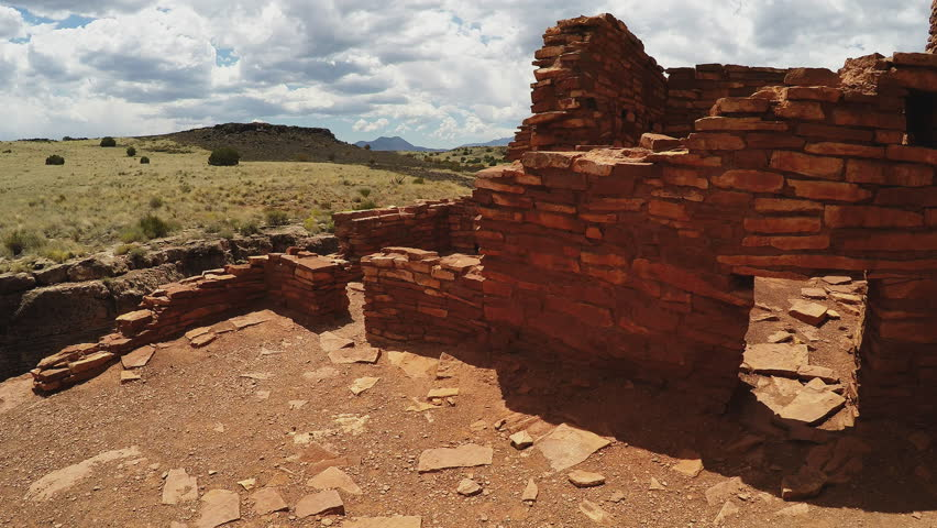 FLAGSTAFF, ARIZONA/USA: August 12, 2016- The camera moves toward and looks inside a room of the Lomaki Native American Indian ruins at Wupatki National Monument.  | Shutterstock HD Video #20577616