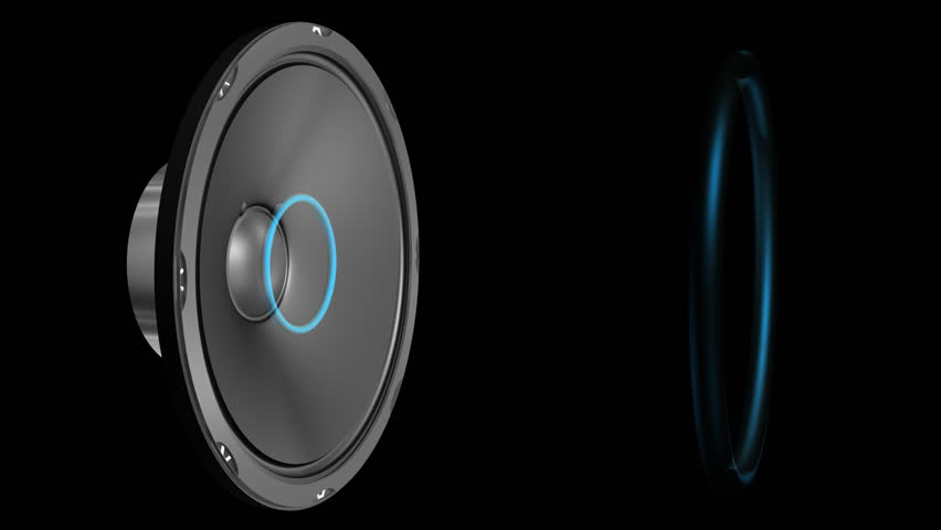 Speaker Emiting Waves Animation With Alpha (HD). 3D rendered animation of a large speaker emitting sound waves as blue rings when cone deforms. Camera orbits around the scene from front to side.