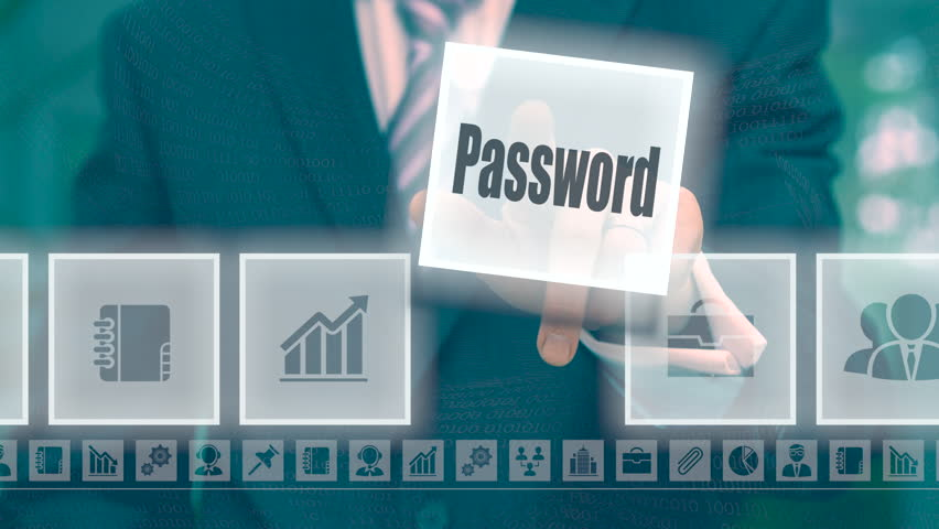 Businessman selecting and then pressing a password button on a clear projection screen   Shutterstock HD Video #20717251
