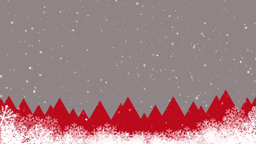 Abstract Christmas Background Landscape And Falling Snow. Red And ...