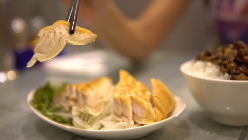 4K of a Dish of a Shark meat in asia. People used chopsticks for eat Smoked shark steak. Cooked in chinese restaurant. Shot in Taipei, Taiwan. -Dan | Shutterstock HD Video #20963941