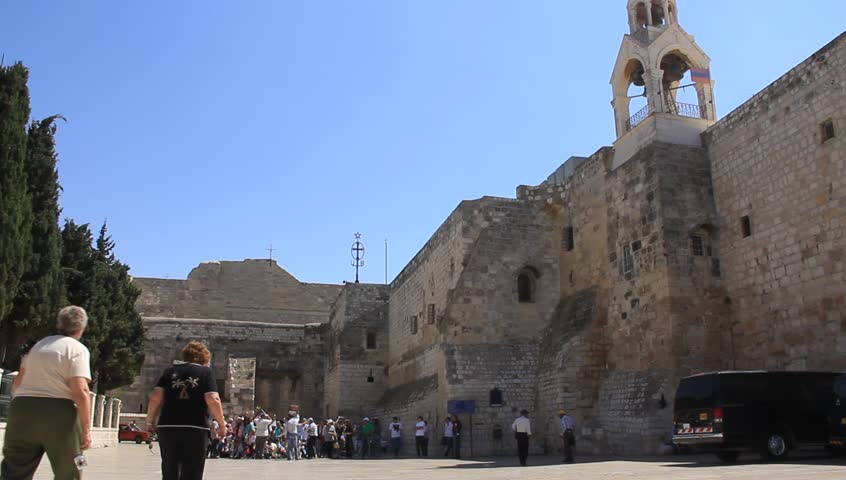 Pilgrims at the Church of the Nativity in Bethlehem, Israel - HD stock footage clip