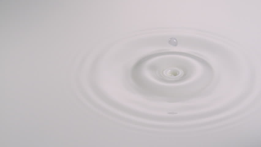 Slo-mo water drop int milk - HD stock video clip