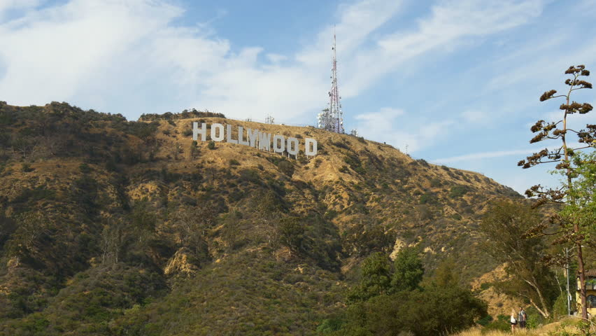summer day famous los angeles hollywood hills sign panorama 4k usa #21250159