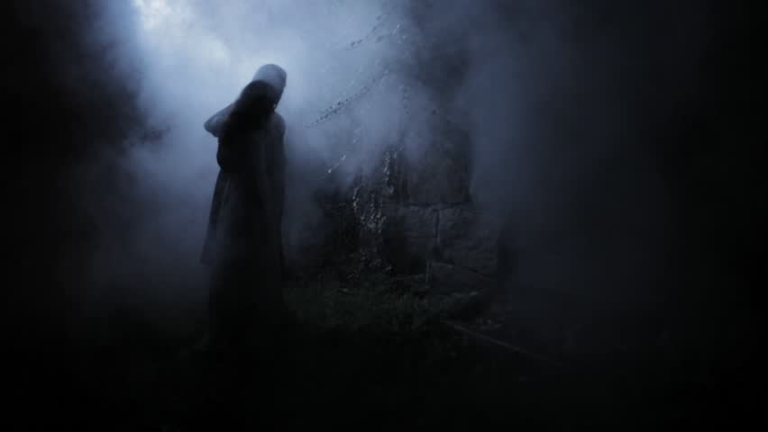 VIRGINIA - SUMMER 2016 - Reenactment, Recreation -- Ghostly, undead Dracula Man in smoky, myst filled garden tomb.  Paranormal, poltergeist.  Mystery Man, Nosferatu with pale pallor. Undead Dracula | Shutterstock HD Video #21254101