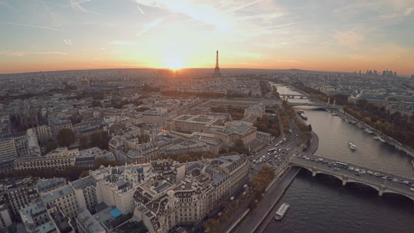Aerial view of Paris during sunset | Shutterstock HD Video #21290812