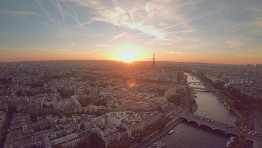 Aerial view of Paris during sunset | Shutterstock HD Video #21290821