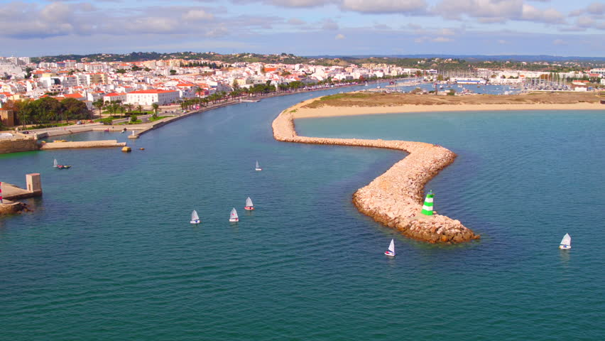 Aerial from the city Lagos in the Algarve Portugal    Shutterstock HD Video #21351346
