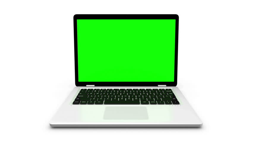 Modern laptop appear from different positions isolated on white.  Animation with green screen. | Shutterstock HD Video #21373396