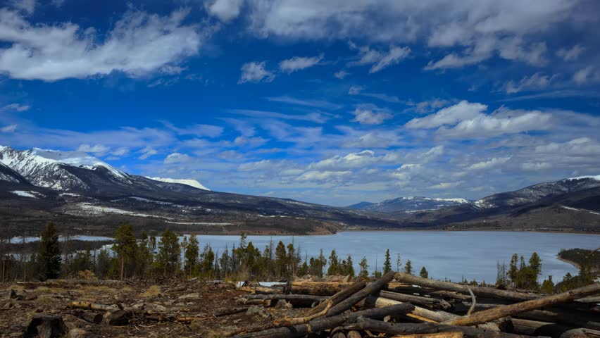 KelvinHelmholtz clouds timelapse over Frozen Lake with Snow capped mountains