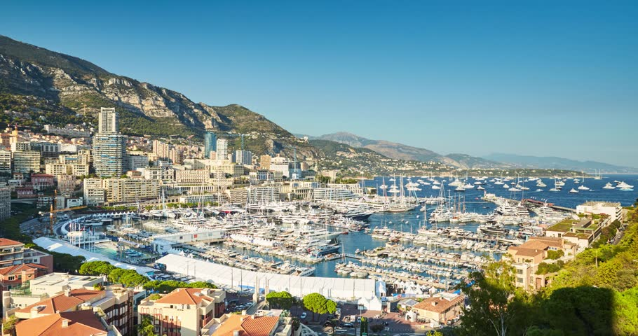 Timelapse of first day MYS Monaco Yacht Show, Port Hercules, luxury megayachts, big boat, view from Princes Palace of Monaco, sunset, aerial view, mountains on background, exhibition, 4k video   Shutterstock HD Video #21431833