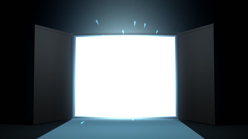 Door opening to shining light