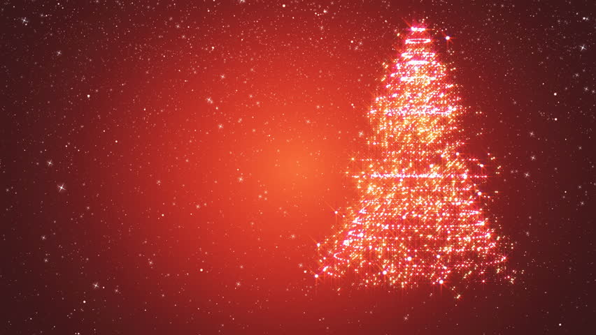 Red snowy background with a rotating Christmas tree of shiny particles. Festive background with animated text Merry Christmas and Christmas tree. Winter background with falling snowflakes. | Shutterstock HD Video #21460354