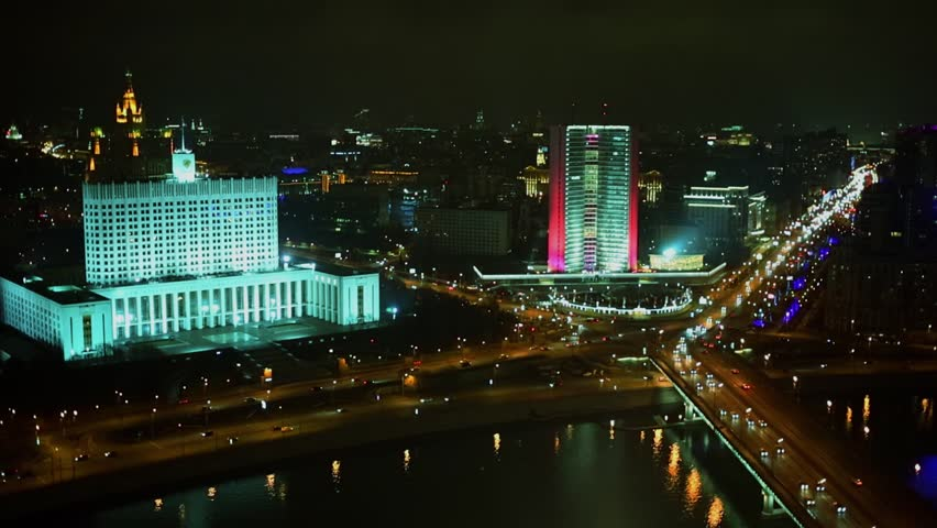 Townscape with traffic near edifice of White House in Moscow at night | Shutterstock HD Video #21468814