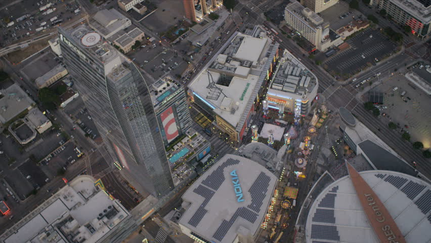 Aerial vertical view of the Staples Centre in downtown Los Angeles, California - HD stock video clip