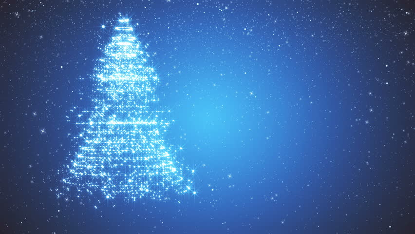 Snowy blue background with a rotating Christmas tree of shiny particles. Festive background with animated text Merry Christmas and Christmas tree. Winter background with falling snowflakes.  | Shutterstock HD Video #21529798