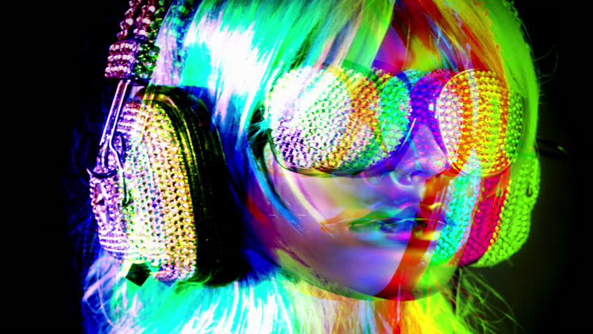 Bling bling shot of a mannequin head wearing retro headphones covered in sparkling crystals   Shutterstock HD Video #21607108