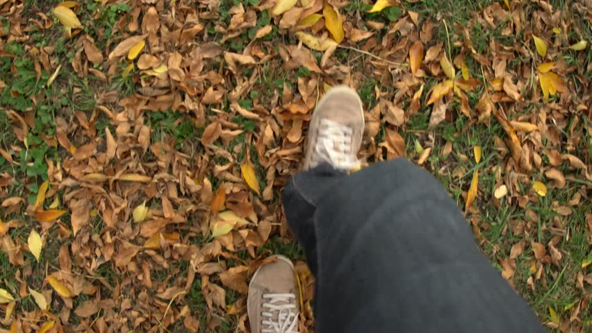 Man walking on a dirt ground covered with yellow fallen leaves during autumn season. First person point of view from above. | Shutterstock HD Video #21761782