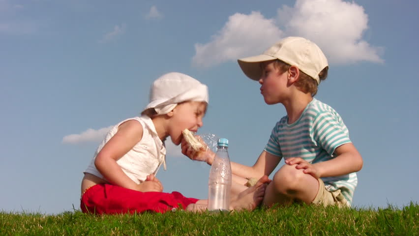 Children at Lunch Time 2  - HD stock footage clip