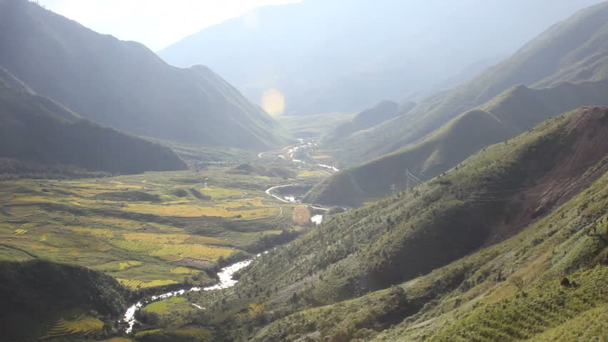 Mountains and valley in the Sapa hill tribe region, North Vietnam.