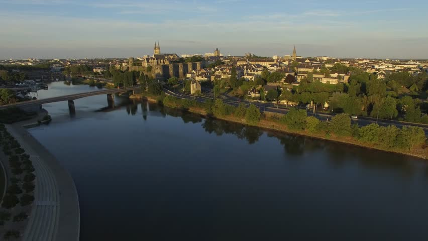 Aerial view by drone of Angers and its castle in summer, France