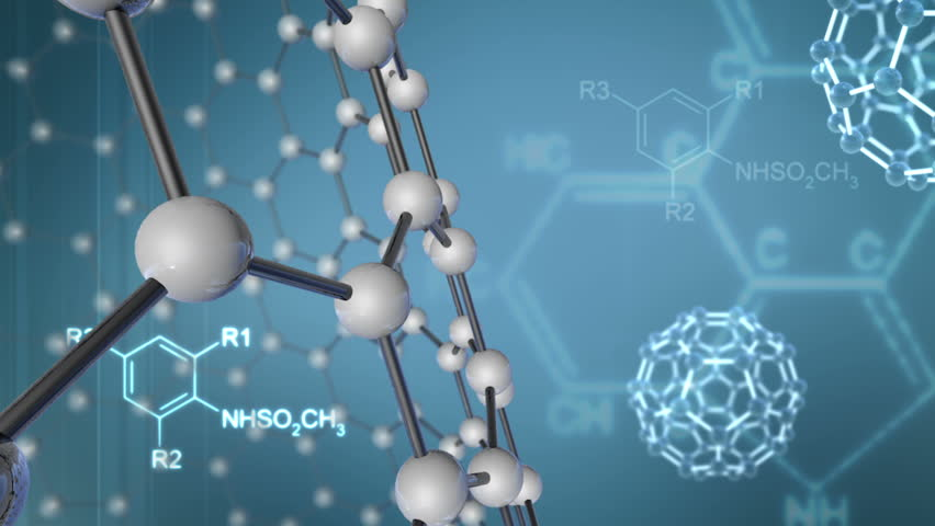 Abstract Background with Molecular Structure and chemical formulas - HD stock video clip