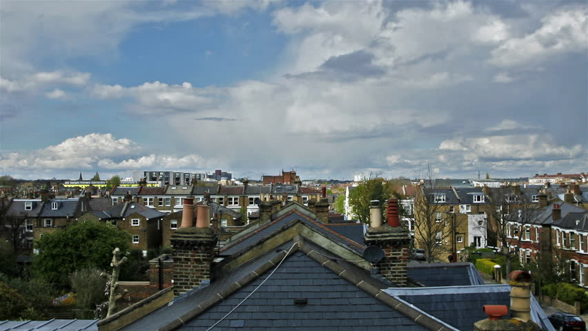 View from a London rooftop - HD stock video clip