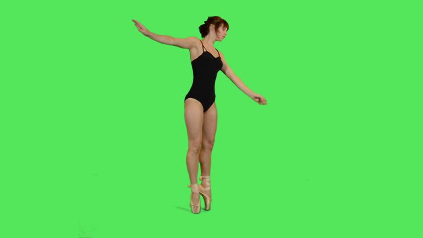 Female Ballet Dancer  on greenscreen - HD stock video clip