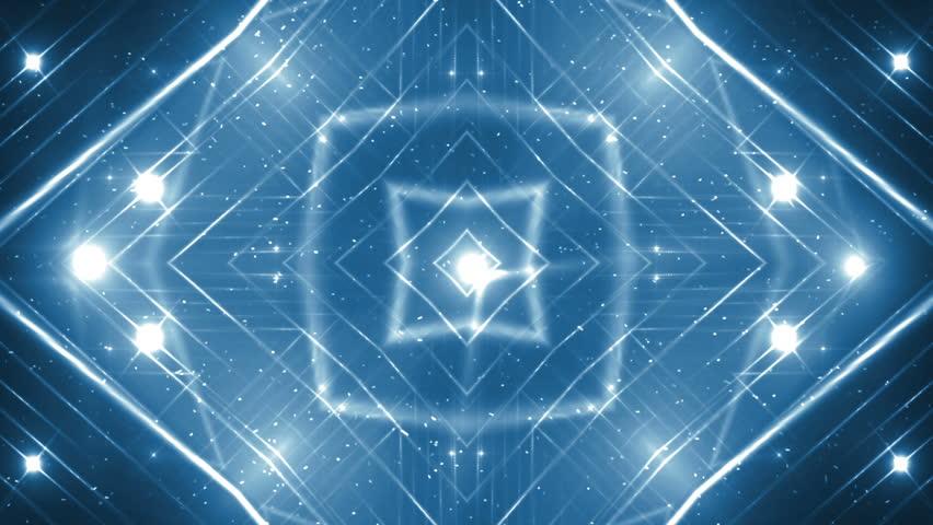 VJ Fractal blue kaleidoscopic background.Background blue motion with fractal design on black background. Disco spectrum lights concert spot bulb. Light Tunnel. Seamless loop.   Shutterstock HD Video #22047136
