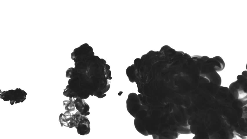 Black ink drop in water on a white background for effects. 3d render. voxel graphics. computer simulation 15 | Shutterstock HD Video #22063012