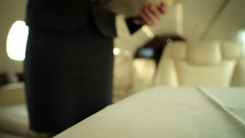 Stewardess brings coffee passenger private jet | Shutterstock HD Video #2212666