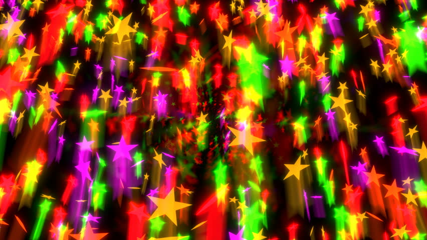 Animated densely falling warm color stars, strikes with motion blur and in slow motion against black background 2.   Shutterstock HD Video #22245307