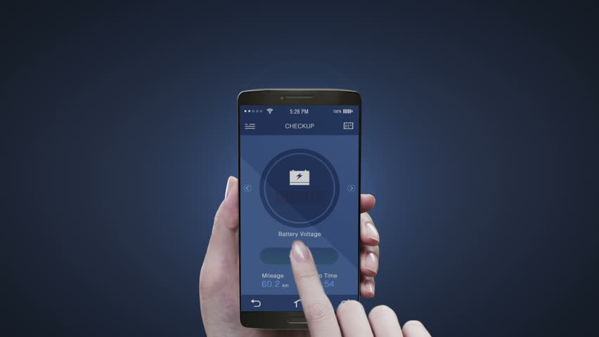 Touching Electronic car management application on mobile screen, Electronic car checked battery , car information. #22262011