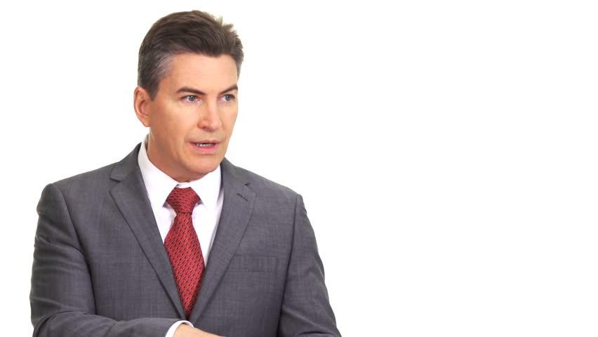 Talking businessman. Interview