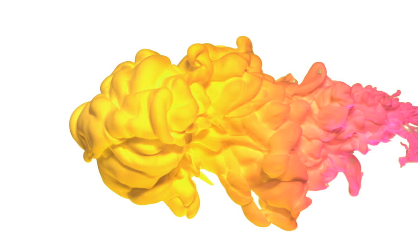 Yellow and pink ink in water shooting with high speed camera, phantom flex.