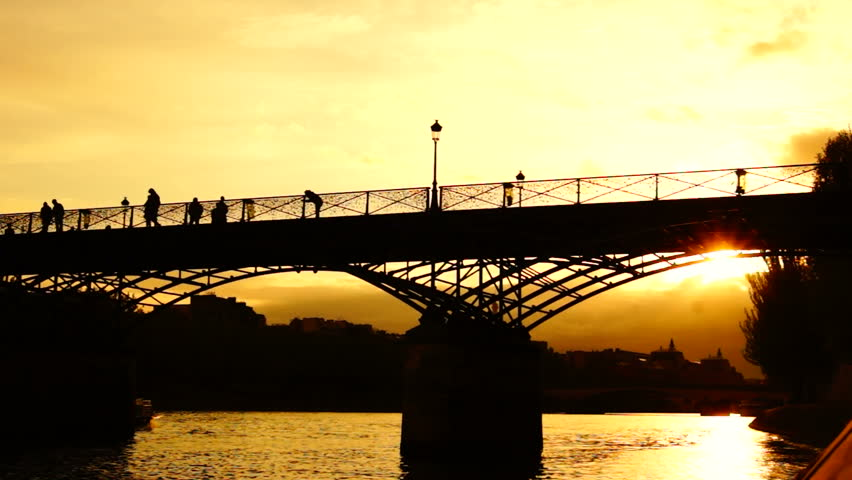 bridge in paris in the sunset - HD stock footage clip