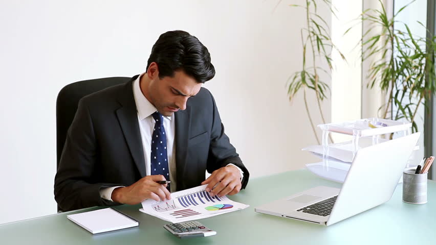 Businessman Working On Documents In His Office Stock Footage Video ...