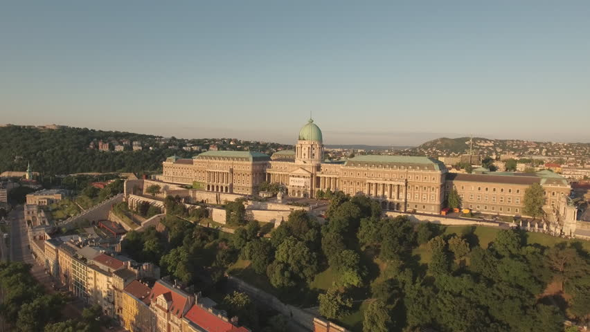 Aerial view of Budapest - Buda castle at sunrise, June 2016: Hungary | Shutterstock HD Video #22512715
