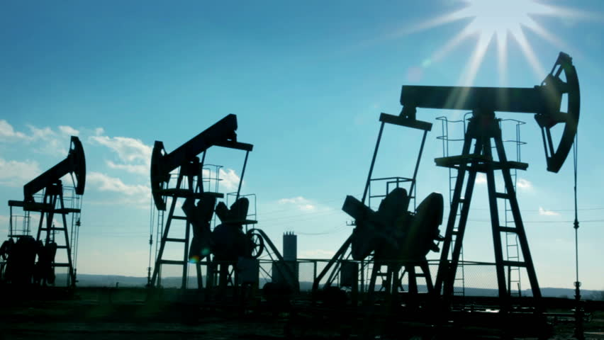 working oil pumps silhouette - HD stock video clip