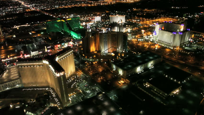 Aerial view of the Las Vegas strip at night circa 2009 - HD stock video clip