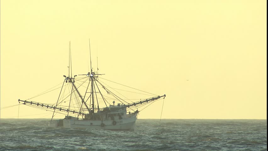 Commercial Shrimp boat at sunrise